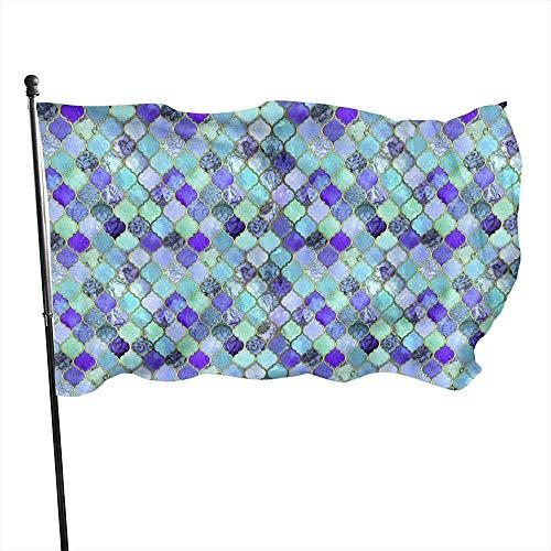 Azul cobalto marroquí patrón de azulejos duradero resistente a la decoloración banderas de decoración con ojales de poliéster al aire libre Banner para todas las estaciones vacaciones 3 x 5 pies