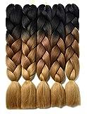 YAYAFAIRY Kanekalon Braiding Hair Extensions Box Braiding Hair for Black Women 24 Inch Long Jumbo 3 Tone Ombre Braiding Hair