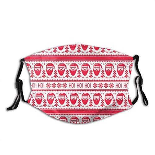 Cubierta de la Cara de la Boca Nordic Ho Ho Ho Santa Stitch Print Cubierta de la Cara de la Boca Bufanda Facial Reutilizable Lavable Bandanas con 2 filtros