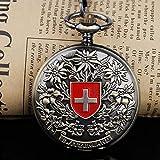 GIPOTIL Orologio da Tasca Meccanico a Carica Manuale con Croce Rossa Svizzera incisa in Bronzo Orologio da Taschino Classico da Uomo e da Donna per Regalo di Compleanno, Blu