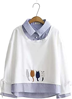 TieNew Girl Lapel Kawaii Warm Comfortable Long Sleeves Hoodie Autumn