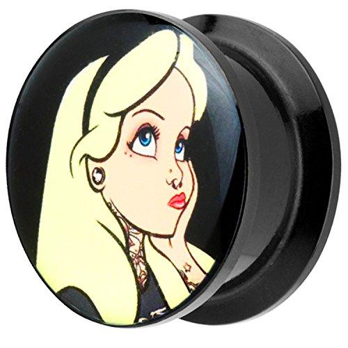 Piersando Ohr Plug Piercing Kunststoff Motiv Comic Picture Flesh Tunnel Ohrplug mit Blondes Mädchen Alice Schwarz Gelb 8mm