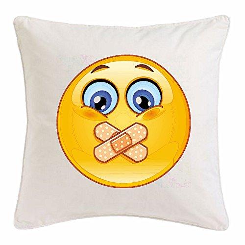 Bandenmarkt Kussensloop 40x40cm TRORIGER Smiley met pleister op de mond Smileys Smilies Android iPhone Emoticons IOS GRINSE Emoticon App van microvezel in wit