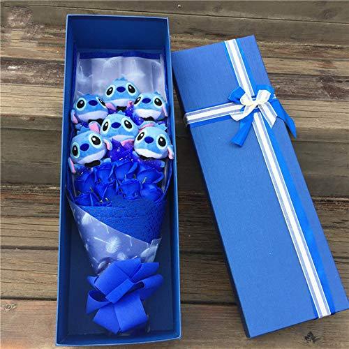 Ruiodr Juguetes de Felpa de Puntada de Dibujos Animados, Flores Artificiales de Ramo de Puntadas Encantadoras, Regalos de decoración de Fiesta de Bodas de San Valentín 55x18x10Cm Azul