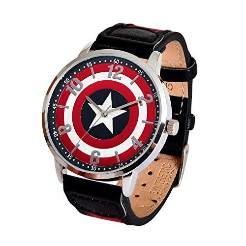 Accutime Captain America Marvel Armbanduhr Shield Logo analog Ø Gehäuse 4,2cm rot schwarz