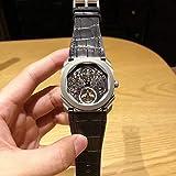 CWTCHY Reloj de Hombre Mecánico Ahuecando Tourbillon Marca de Moda Hombre de Cuero Relojes Deportivos Reloj automático para Hombre Estilo OctoCorrea de Cuero Negro