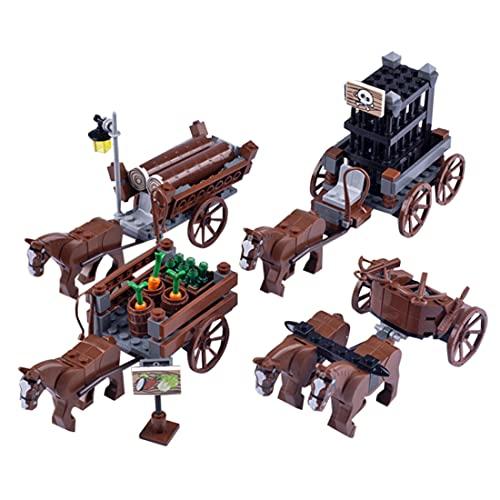 WWEI Figura medieval con diseño de camión de combate, 900 unidades de minifigura de juguete compatible con Lego