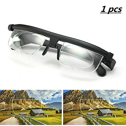 Einstellbare Lesebrille mit Brennweite, HD-Anti-Fatigue-Brille für Männer und Frauen, Myopie- und Weitsicht-Teleskopbrille mit manueller Fokussierung