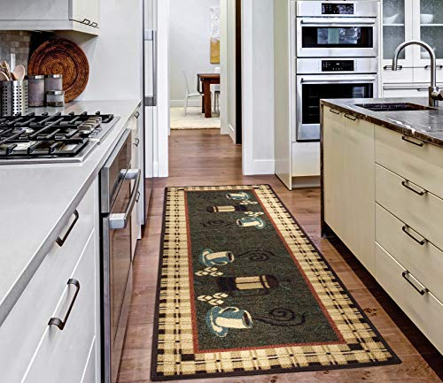 Ottomanson siesta collection runner rug, 20'X59', Olive Green Coffee Cups