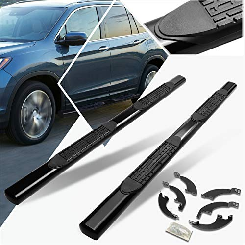 4 Inch Mild Steel Oval Tube Nerf Bars Side Step Running Boards Black Compatible with 2016-2020 Honda Pilot,2 Pieces