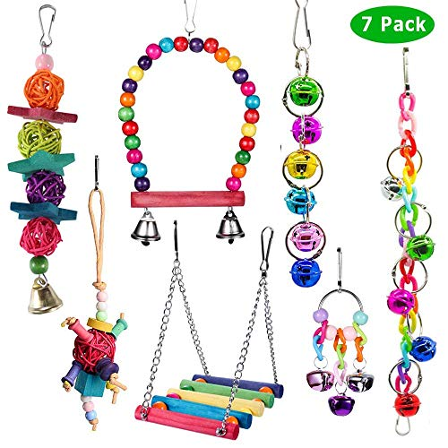 ACEONE Bird Toys Parrot Swing Toy with Colorful Wooden Beads Bells and Pet Bird Cage Hammock Hanging Chew Toys for Small Parakeets Cockatiels, Conures, Macaws, Lovebirds, Finches 7PCS