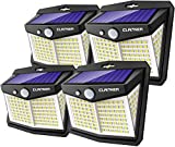 Claoner Solar Motion Sensor Lights, [128 LED/4 Packs] Outdoor Solar Lights 3 Working Modes Solar Wall Lights with 270° Wide Angle Wireless IP65 Waterproof Solar Security Lights for Yard Garage Deck