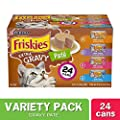 Purina Friskies Pate Wet Cat Food Variety Pack, Extra Gravy Pate Chicken, Turkey, Salmon & Tuna - (24) 5.5 oz. Cans