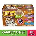 Purina Friskies Pate Wet Cat Food Variety Pack, Extra Gravy Pate Chicken, Turkey, Salmon & Tuna - (24) 5.5 oz. Cans