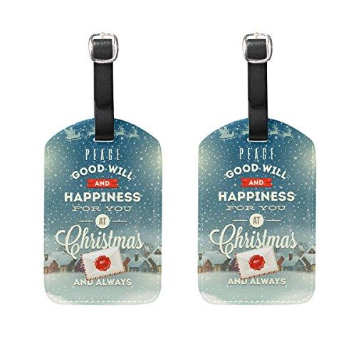 COOSUN Weihnachtsgruß-Entwurf mit Weinlese-Straßen-Laterne Kofferanhänger Reise Labels Tag-Namenskartenhalter für Gepäck Koffer Tasche Rucksäcke, 2 PCS M Mehrfarbig