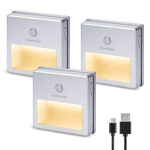 Novostella Lot de 3 Lampes LED Détecteur de Mouvement Intérieur, USB Rechargeable, 3 Modes (AUTO/ON/OFF), Veilleuse Automatique à Escalier, Batterie Alimenté, Eclairage Sécurité pour Couloir Armoire