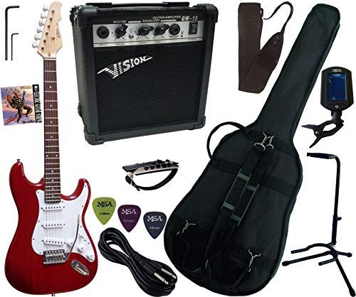 PACK Guitarra eléctrica 15W Amplificador 9 Accesorios 11 Versiones (Rojo recto)