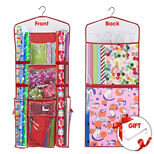 Hanging Gift Wrapping Paper Storage Organizer Bag Double Sided Multiple Front and Back Pockets Organize Your Gift Wrap, Gift Bags Bows Ribbons 40