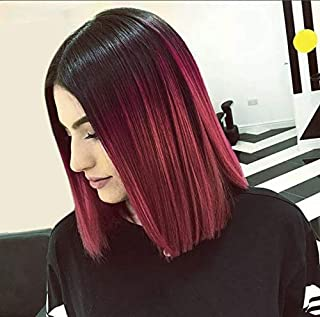 AISI HAIR Short Red Ombre Wigs for Black Women Burgundy Wigs Synthetic Straight 2 Tone Color Dark Roots Wine Red Hair Short Bob Wig Middle Part Bob Wigs