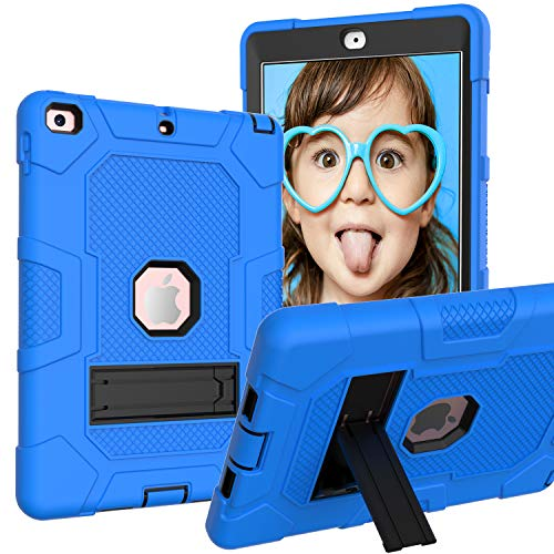 GoYi Case Compatible with New iPad 9.7' 2017/2018, 360° Shockproof Anti-scratch Cover/PC + Silicone 3-In-1/Heavy Duty Tough Aromr/Kickstand for New iPad 9.7' 2017/2018-Blue/Black