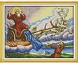 Juego de bordado para regalo de punto de cruz de bordado - Carrito de compras de Papá Noel - Imágenes de bordado de bricolaje para principiantes Niños Artesanía de punto de cruz Punto de cruz Dec