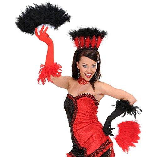 NET TOYS Éventail Noir Main éventail éventail à Plumes éventail Noir déguisement Accessoires éventail pour Femme Mardi Gras Carnaval