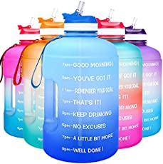 QuiFit Motivational Gallon Water Bottle - with Straw & Time Marker BPA Free Large Reusable Sport Water Jug with Handle for Fitness Outdoor Enthusiasts Leak-Proof (Blue/Blue Gradient, 1 Gallon)