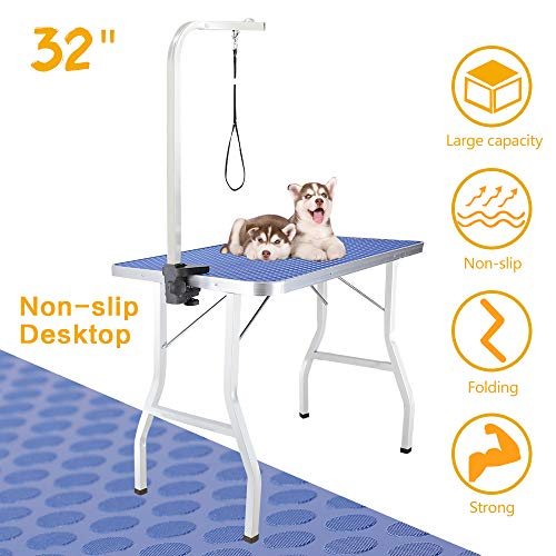 Royale Foldable Pet Dog Grooming Table, 32 Inch Portable Durable Drying Table with Non-Slip Table Top, Adjustable Height Arm&Noose for Dog or Cat