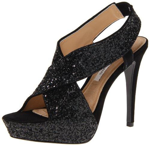 Diane von Furstenberg Women's Zia Glitter Platform Sandal,Black Glitter/Black Suede,8.5 M US