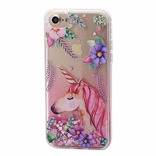 Keyihan iPhone 6 / 6S Cover Liquido Custodia Ragazza Donna Trasparente Chiaro Divertenti Brillantini Glitter Bling Liquid Flowing Case per Apple iPhone 6 6S (Unicorno e Fiore 2#)