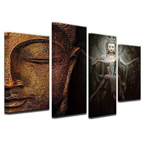 ZDFDC Buddha Meditation Shiva große Leinwand Bilder Malerei Poster Wandkunst Drucke Wohnzimmer Wohnkultur-30x60x2 30x80 cmx2 stücke kein Rahmen