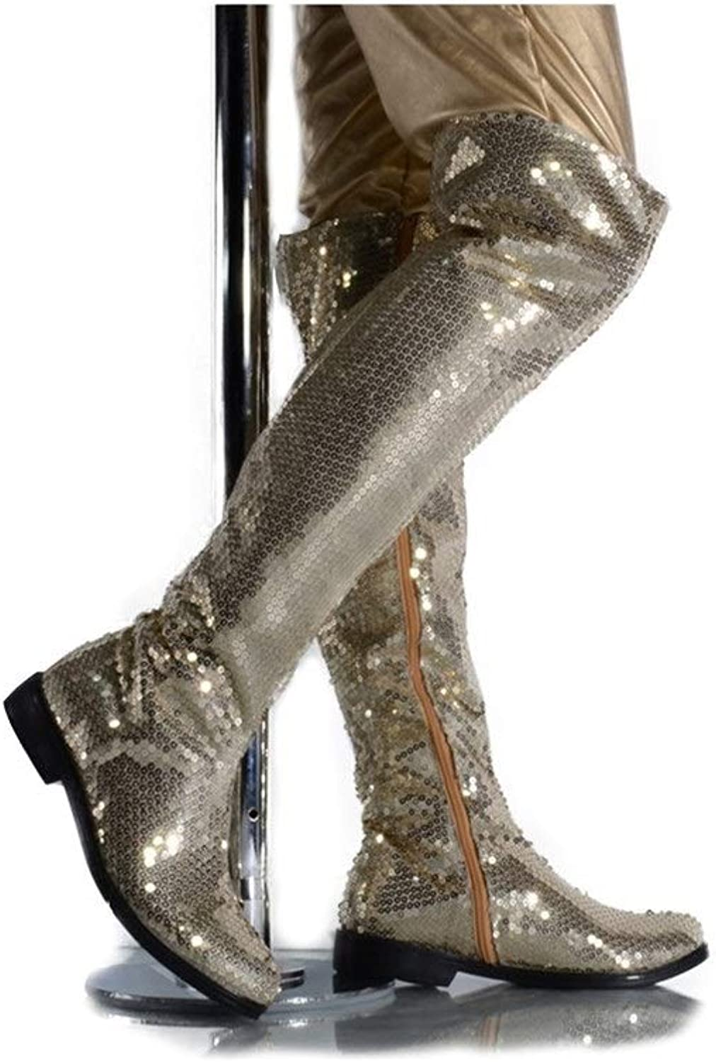 DADIJIER Men's Stage Perform Over The Knee High Boots Shiny Sequins Side Zipper Motorcycle Boots Durable