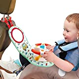 WISHTIME Car Seat Play Center Toy - Infant Car Seat Toys Steering Wheel for Car Seat Baby Stroller Toy Baby Travel Companion Newborn Toy for Rear Car Seat Easier Drive Vehicle with Music Light Mirror