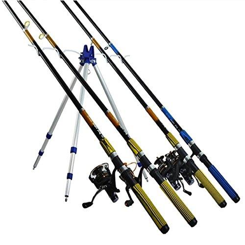King Size Cañero Trípode hasta 4 Cañas Pescar Soporte Pesca Caña Altura Ajustable Pica