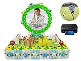 Original Tarta Infantil Decorativa de Golosinas Campo Fútbol+ Oblea Personalizable en Bolsa Celofán. Dulces. Juguetes y Regalos. Decoración para Cumpleaños, Bodas, Bautizos y Comuniones. DC