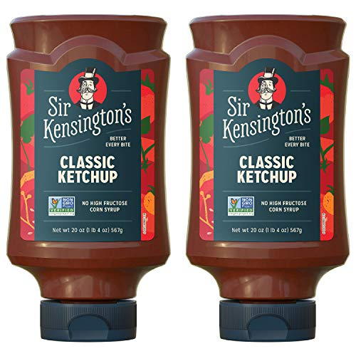 Sir Kensington's Classic Ketchup, From Whole Tomatoes, No High Fructose Corn Syrup, Gluten Free, Certified Vegan, Non- GMO Project Verified, Shelf-Stable, 20 oz pack of 2