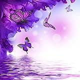 Wdsjxd Pintura por números Home Painting Set Flores y mariposas en el agua Lienzo Pintura al óleo Set Principiante con Pincel Home Dector Regalo Sin Marco 40X50cm