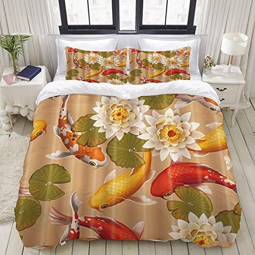 ELIENONO Bedding Duvet Cover Set with Zipper Closure - Fish Koi Carps and Lotus - Brushed Microfibre Duvet Cover with Pillowcases-Single(230 * 220cm)