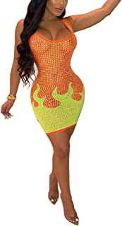 Aro Lora Women's Sexy Sheer Mesh See Through Rhinestones Color Block Club Bodycon Tank Mini Dress