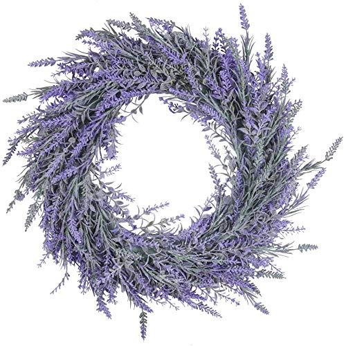 Pauwer 40 cm Künstliche Buchsbaumkranz Grüne Blätter Haustür Kranz Im Freien Grünen Kranz für Haustür Hängen Wand Fenster Hochzeit Party Decor (Lavendel)