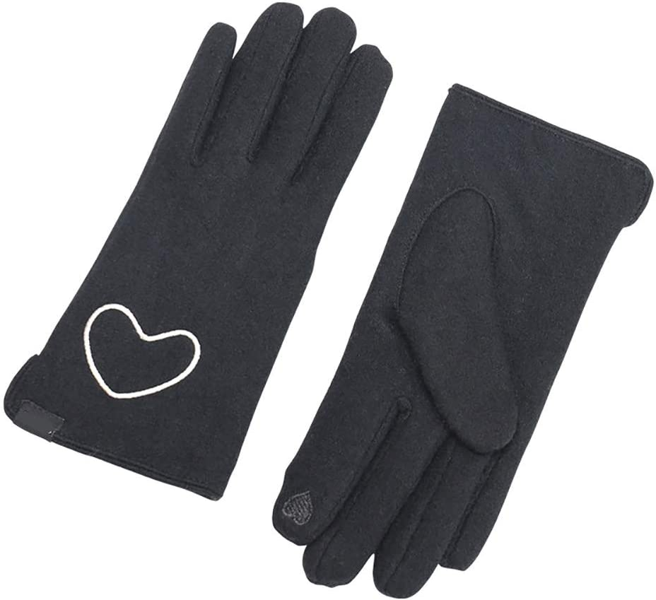 N / A Women's Screen Gloves, Winter Wool Gloves, Anti-Slip Knit Touchscreen Cuff Warm Unisex Driving Gloves with Thick Fleece Lining (Khaki)