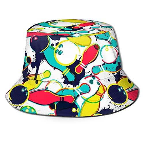 LENGDANU Fischerhut, verstaubar, Sommer-/Strand-/Sonnenhut, Fischermütze Gr. One size, Abstrakte Wasserfarben-Bowlingkugel