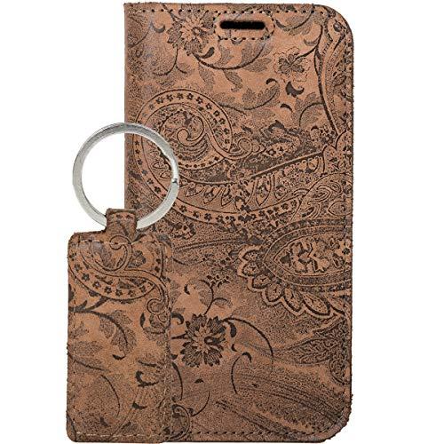 SURAZO Handy Hülle Für Huawei P30 Pro RFID Smart Magnet Ornament Braun - Glattleder Premium - Vintage Wallet Hülle