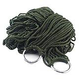 Jiaojie Hamaca de malla de cuerda de nailon para dormir al aire libre, cama con cuerda y bolsa de almacenamiento, puede soportar 200 libras senderismo, camping, deportes al aire libre