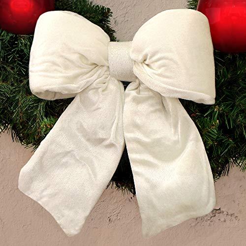 EDG ENZO DE GASPERI Fiocco Imbottito Albero di Natale Shabby Chic Velluto 40 x 48 cm Colore Bianco Caldo