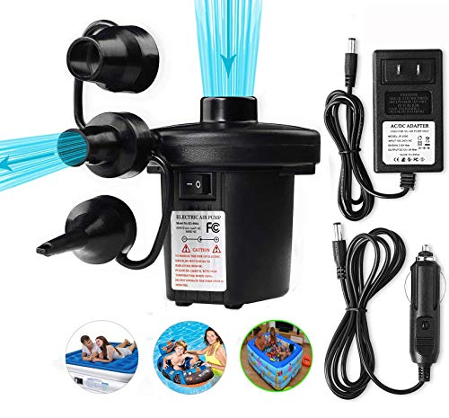 Powerful Electric Air Pump Portable Air Pump Quick-Fill AC Inflator Deflator with 3 Nozzles for Outdoor Camping, Inflatable Cushions, Air Mattress Beds, Boats, Swimming Ring 110 V AC/12V DC (70W)