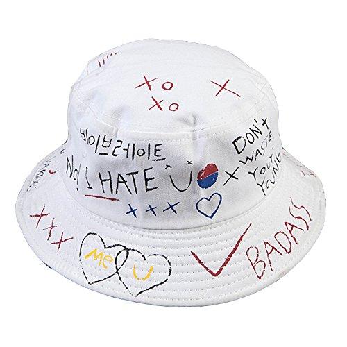 GEMSeven Brief Graffiti Bucket Hut Fischer Hüte Männer Frauen Sommer Street Dancer Panama Hut Hip Pop Hut UV Schutz Sonnenhut