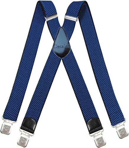 Decalen Bretelle Uomo Donna X Forma Elastici Registrabili Clip molto forti Colori Nero Blu Rosso (Azzurro)