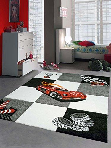 CARPETIA Kinderteppich Spielteppich Jungen Kinderzimmerteppich Auto Rennwagen rot schwarz Größe 80x150 cm