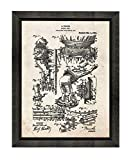 Harry Houdini Diver's Suit Patent Art Old Look Print in a Beveled Black Wood Frame (16' x 20') M10212